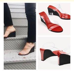 Zara Wedge Sandals Transparent Clear Straps 38